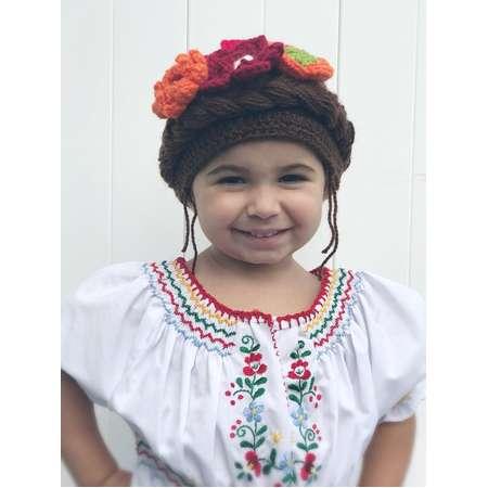 Frida Kahlo crochet hat-Frida Kahlo Wig - Frida Kahlo Costume Coco costume - Kids Halloween Costume thumb