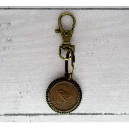 Outlander Themed 1945 British Farthing Antiqued Bronze Keyfob with Bird Motif thumb