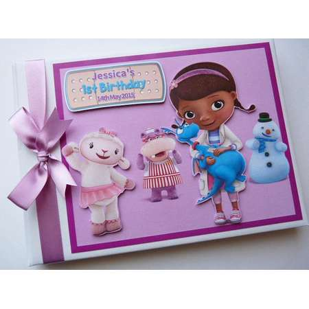 Doc McStuffins First Birthday Guest Book Personalised Memory Book '1st Birthday' - any design thumb