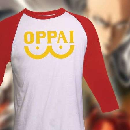 One Punch Man Shirt - Oppai Shirt - 3/4 Sleeve raglan Tshirt - One Punch Man Anime Shirt thumb