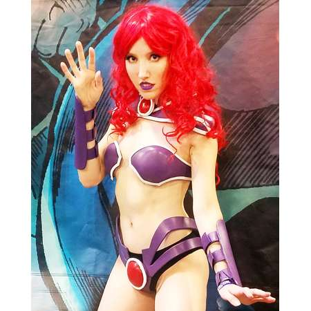 STARFIRE COSPLAY Teen Titans Inspired DC Comics Batman Sexy Costume Superhero Supervillain Custom Metal Bikini Armor Geek thumb