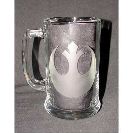Star Wars Classic Rebel Alliance logo Hand Etched on your choice of Beer Mug or Pint Glass thumb