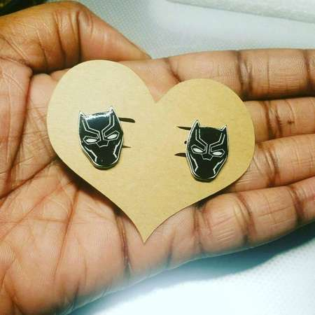 Black Panther Earrings. Black Panther Jewelry. Wakanda Forever. T'Challa. Colonizer. BP Earrings. BP Jewelry. Comicbook Earrings. thumb