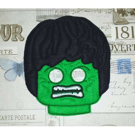 Lego INCREDIBLE HULK inspired mask in the hoop Project ith Embroidery Design Costume Cosplay Fancy dress Masquerade Photo booth halloween thumb