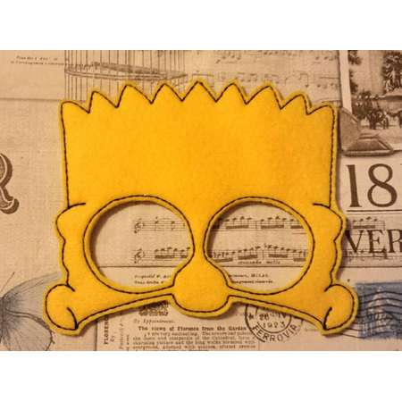Bart inspired the simpsons mask ITH Project In the Hoop Embroidery Design Costume, Cosplay, Fancy dress,  Photo booth, Prop thumb
