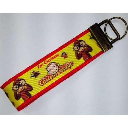 Curious George Monkey Grosgrain Ribbon Wristlet KeyFob, Luggage/Backpack Tag, Teacher Badge/Whistle Holder, Souvenir,Birthday Party Prize thumb