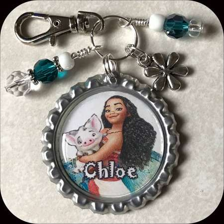 MOANA Personalized Name Bottle Cap Pendant with Clip or Beads Charm. Jewelry for Necklace, Zipper Pull, School Backpack id Tag thumb