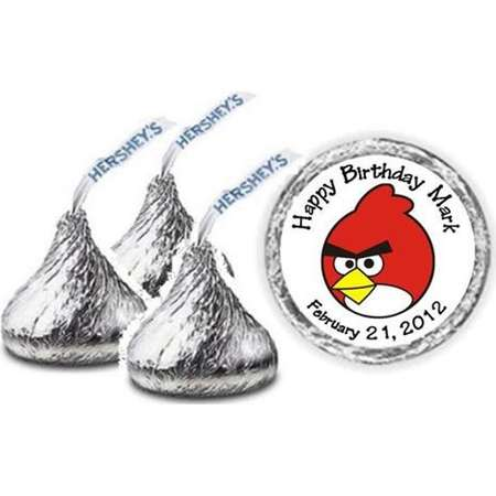 108 Angry Birds Personalized Birthday Hershey Kiss Candy Label Wrapper Favors Stickers thumb