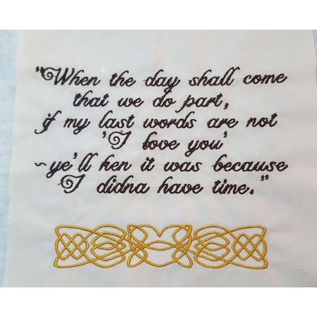 Embroidered Quilt Squares James Fraser Sayings from Outlander Books thumb