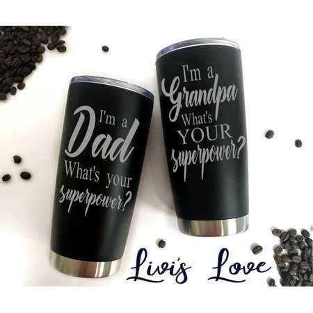 Grandpa Mug Dad Mug Dad Gifts Grandpa Gifts Travel Mug Coffee Thermos Stainless Steel To Go mug Engraved What's your superpower Coffee Mugs thumb