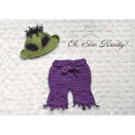 NEW! Handmade Crochet Marvel Superheroes baby Incredible Hulk-inspired costume thumb