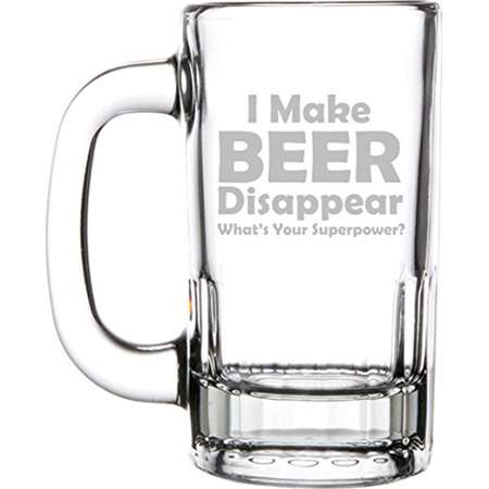 12oz Beer Mug Stein Glass Funny I Make Beer Disappear What's Your Superpower thumb