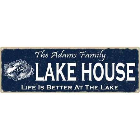 The ADAMS Family Lake House Sign 6x18 Metal Fishing Cabin Decor 106180101039 thumb