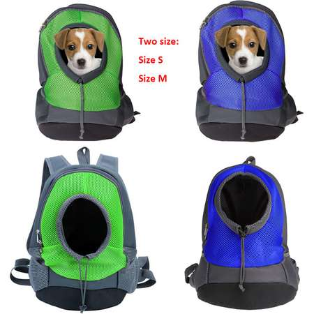 Pet Front Carrier Dog Cat Puppy Travel Bag Mesh Backpack Head out Carrier Bag, Size S, Blue thumb