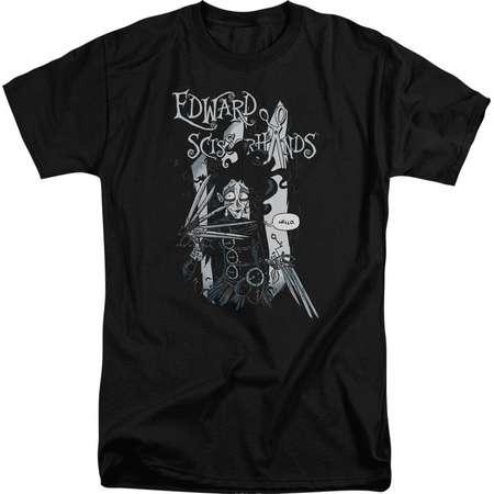 Edward Scissorhands - Hello Adult Tall Fit T-Shirt - Adult Tall Fit T-Shirt / 3XL / Black thumb