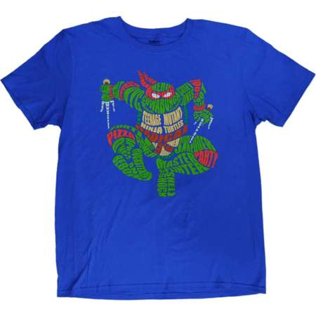Teenage Mutant Ninja Turtles Mens Blue Raphael Word Cloud Graphic T-Shirt L thumb