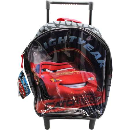 Disney 's Cars Lightning McQueen Goodyear Black Rolling Backpack (12in) thumb