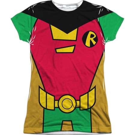 Teen Titans Go! DC TV Show Robin Uniform Juniors Front/Back Print T-Shirt thumb