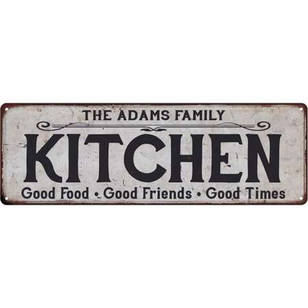 THE ADAMS FAMILY KITCHEN Personalized Chic Metal Sign 6x18 106180039040 thumb