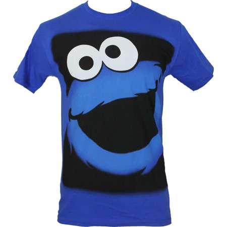 Sesame Street Mens T-Shirt - Cookie Monster Face in Black Box thumb