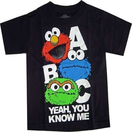 Sesame Street Little Boys Black Elmo Oscar Cookie Monster Print T-Shirt thumb