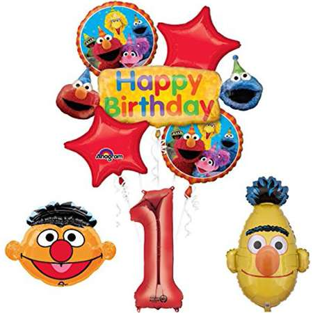 Sesame Street Bert and Ernie 1st Birthday Party Supplies and Balloon Bouquet Decorations thumb