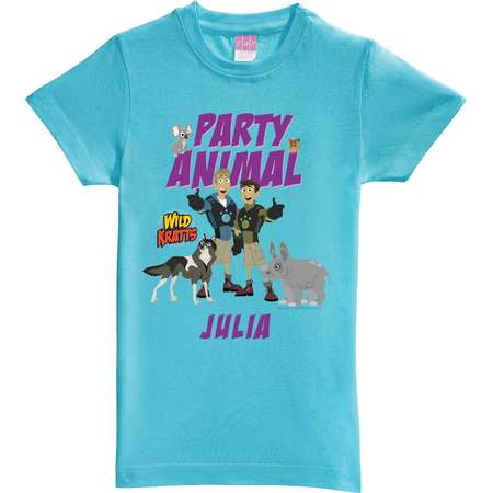 Personalized Wild Kratts Party Animal Aqua Fitted Tee 2095 Walmart