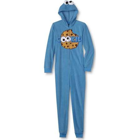 Sesame Street Womens Cookie Monster Hooded Microfleece One-Piece Pajamas thumb