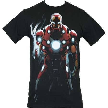 4ad61842 Iron Man (Marvel Comics) Mens T-Shirt - Shadow Drenched Power Pose thumb