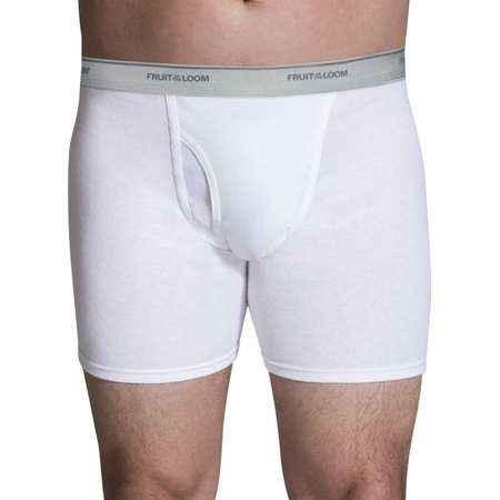 NEW Fruit of the Loom Men's 4pk Classic White Boxer Briefs thumb