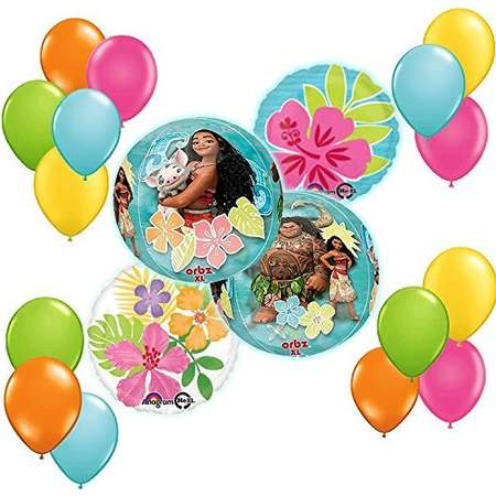 Disney Moana Tropical ORBZ Balloon 19 pc Bouquet Decoration Kit thumb