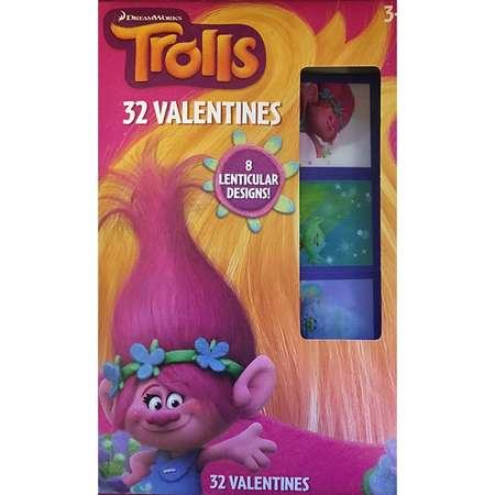 Trolls Classroom Exchange Valentine's ~ 32 count ~ Lenticular Stickers By Paper Magic Group thumb