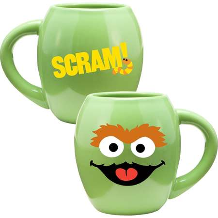 Oscar Sesame Street Face 18 oz. Oval Ceramic Coffee Mug Green Smile Scram thumb