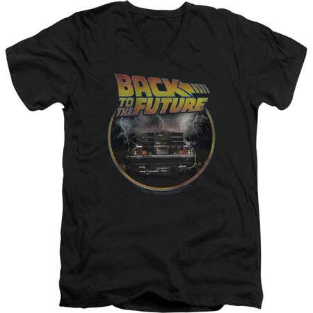 Back To The Future Sci-Fi Movie Delorean Back Adult V-Neck T-Shirt Tee thumb
