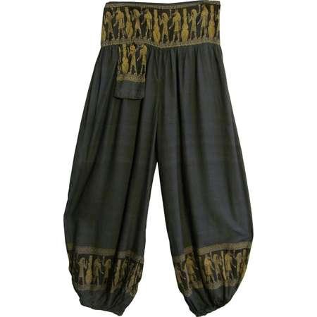 Unisex Men's Women's Hippie Aladdin Ethnic Egyptian Hieroglyphics Print Harem Pants - Gray thumb