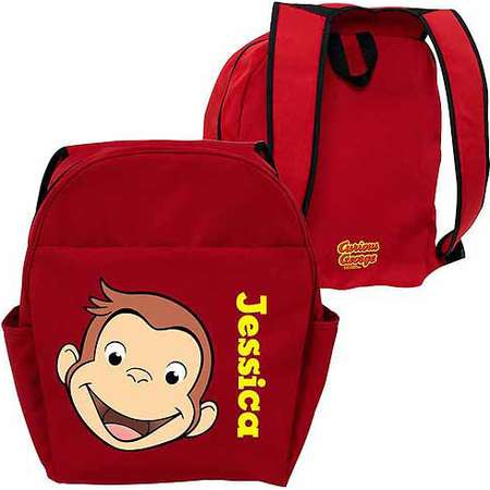 Personalized Curious George Funny Face Red Toddler Backpack thumb