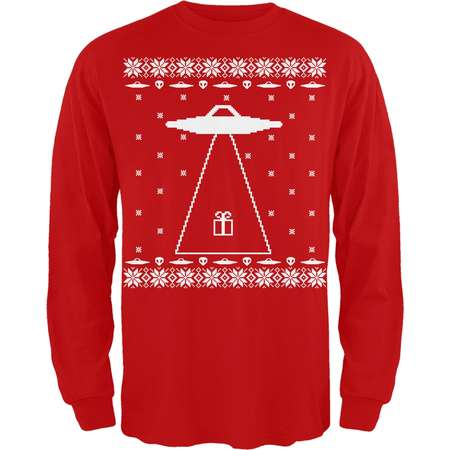 Alien Abduction Ugly Christmas Sweater Red Adult Long Sleeve T-Shirt thumb