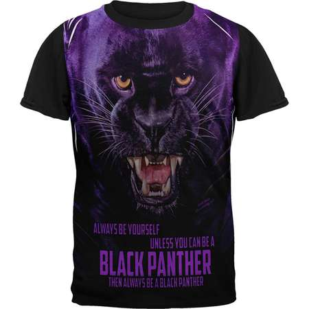 Always Be Yourself Unless Black Panther All Over Mens Black Back T Shirt thumb