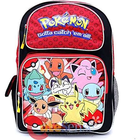 "Pokemon Large School Backpack 16"" Book Bag New Style Red thumb"