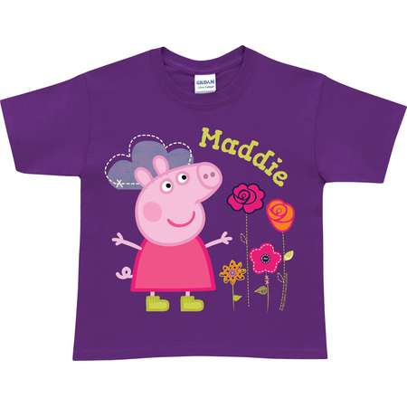 0cac2d845 Personalized Peppa Pig Pretty Toddler Girk Purple T-Shirt thumb