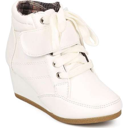 Link EA20 Leatherette Round Toe High Top Velcro Wedge Sneaker (Toddler/ Little Girl/ Big Girl) thumb