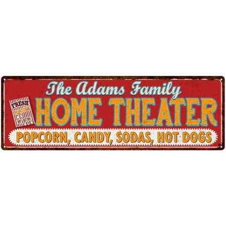 The ADAMS Family Home Theater Sign Gift 6x18 Metal Movies Decor 206180100039 thumb
