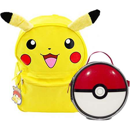 "16"" Pokemon Pikachu Face w/ Ears Backpack with Insulated Pokeball Lunch Bag thumb"