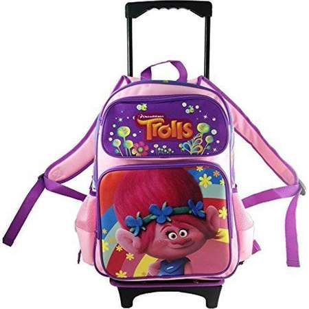 "Dreamworks Trolls Poppy 16"" Rolling/Roller Large Girls School Backpack thumb"
