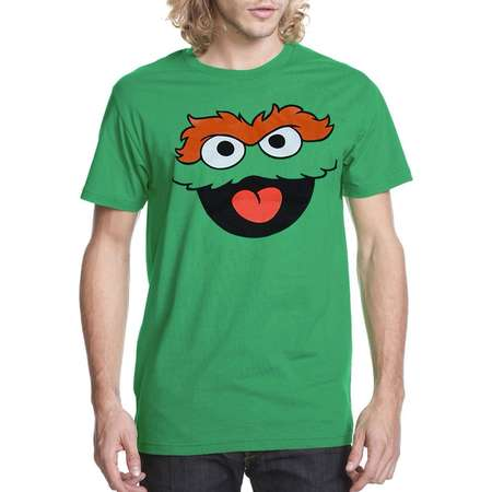 Sesame Street Oscar The Grouch Face Adult T-Shirt thumb