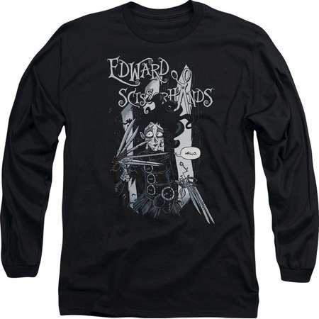 Edward Scissorhands - Hello Adult Long Sleeve T-Shirt - Adult Long Sleeve T-Shirt / 2XL / Black thumb