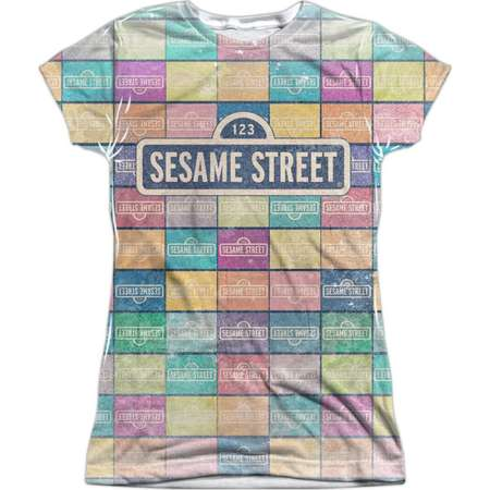 Sesame Street Classic TV Show Logo Color Block Juniors Front Print T-Shirt thumb