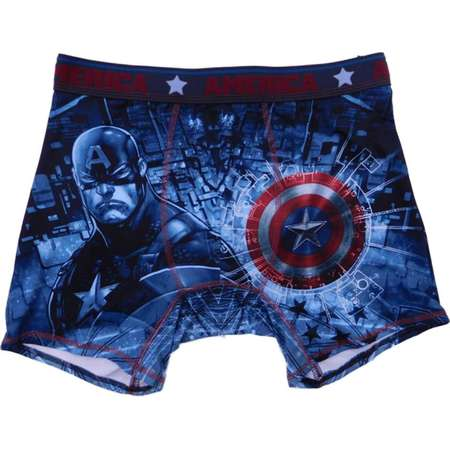 Marvel Mens Blue Captain America Comic Book Graphic Art Boxer Briefs L thumb