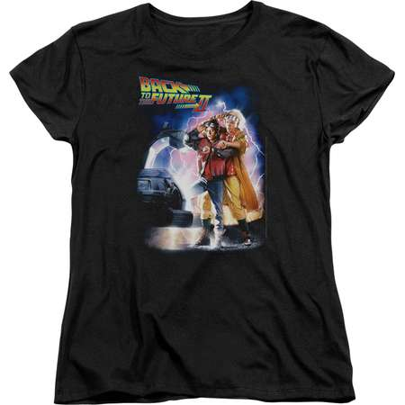 Trevco BACK TO THE FUTURE II POSTER Black Adult Female T-Shirt thumb