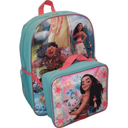 "Disney Girl's Princess Moana 16"" Backpack W/ Detachable Lunch Box thumb"